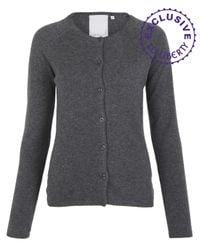 Hazel | Gray Charcoal Heart Back Cashmere Cardigan | Lyst