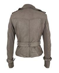 Muubaa | Gray Stone Leather Biker Jacket for Men | Lyst
