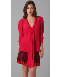 Parker | Red Tie Front Blouse | Lyst