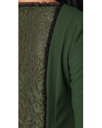 RED Valentino - Green Long Sleeve Dress with Lace Back - Lyst