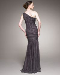 Tadashi Shoji | Metallic Ruched Shimmery Tulle Gown | Lyst