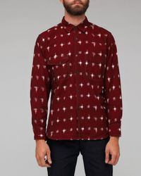 Universal Works | Red Claret Ikat Weave Patterned Work Shirt for Men | Lyst