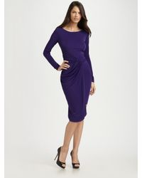 BCBGMAXAZRIA | Purple Sosie Draped Dress | Lyst