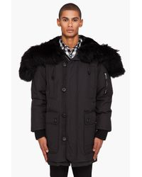 DSquared² - Black Rabbit and Racoon Hooded Parka Jacket for Men - Lyst