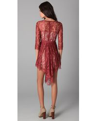 Lover - Brown Serpent Lace Dress - Lyst