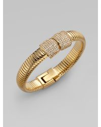 Michael Kors - Metallic Rhinestone Embellished Ridged Bangle Bracelet - Lyst