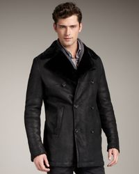 Theory | Black Double-breasted Shearling Coat for Men | Lyst