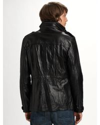 7 For All Mankind | Black Leather Utility Jacket for Men | Lyst