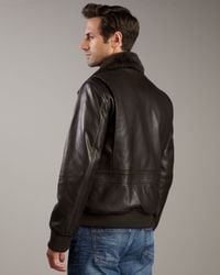 Andrew Marc | Brown Shearling-collar Bomber Jacket | Lyst