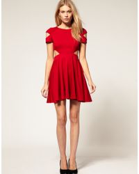 ASOS Collection | Red Asos Petite Exclusive Fit and Flare Dress with Cut Out Side | Lyst