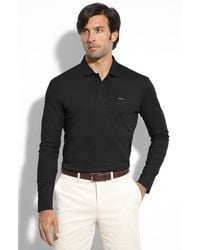 Façonnable | Black Long Sleeve Polo for Men | Lyst