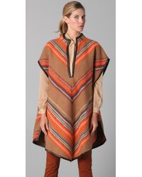 Matthew Williamson | Brown Blanket Striped Poncho | Lyst