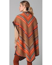 Matthew Williamson - Brown Blanket Striped Poncho - Lyst