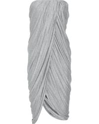 Thakoon Addition | Gray Strapless Draped Jersey Dress | Lyst