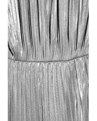 Halston - Metallic Pleated Lamé Mini Dress - Lyst