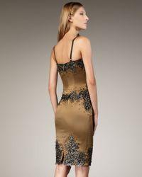 Julian Joyce By Mandalay - Metallic Beaded Lace & Satin Dress - Lyst