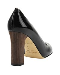 kate spade new york | Kami - Black Patent Block Heel Pump | Lyst