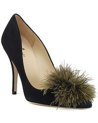 kate spade new york | Linette - Black Suede Pom Pom Pump | Lyst