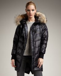 Theory | Black Fur-trim Puffer Coat | Lyst