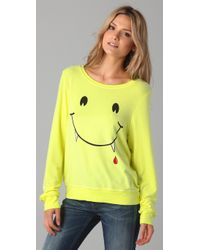 Wildfox | Yellow Vampire Smile Baggy Beach Sweatshirt | Lyst