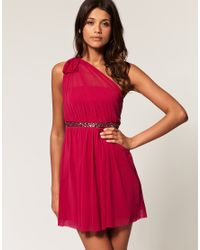 ASOS Collection - Red Asos One Shoulder Dress with Embellished Waist - Lyst