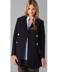 Boy by Band of Outsiders   Blue Double-breasted Wool-blend Peacoat   Lyst