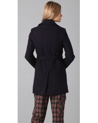 Boy by Band of Outsiders | Blue Double-breasted Wool-blend Peacoat | Lyst