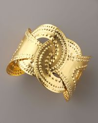 Devon Leigh - Metallic Beaded Interlock Cuff - Lyst