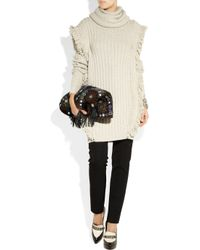 Etro | Natural Fringed Chunky-knit Wool Sweater Dress | Lyst