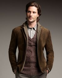 John Varvatos - Brown Double-layer Leather Jacket for Men - Lyst