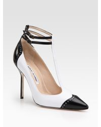 Manolo Blahnik | Black Leather T-strap Spectator Pumps | Lyst