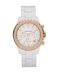Michael Kors - Acrylic Glitz Watch, White/gold - Lyst