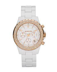 Michael Kors | Acrylic Glitz Watch, White/gold | Lyst