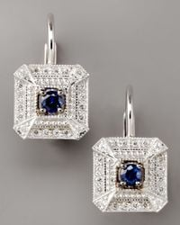 Penny Preville - Metallic Diamond & Sapphire Square Drop Earrings - Lyst