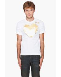 Play Comme des Garçons   White Foil Gold T-shirt for Men   Lyst