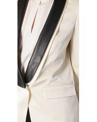 Tibi - Natural Leather-lapel Tuxedo Jacket - Lyst