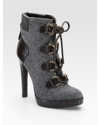 Tory Burch | Gray Lawson Wool and Leather Ankle Boots | Lyst