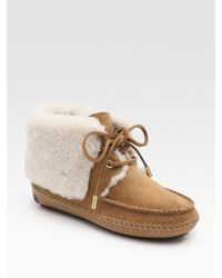 Tory Burch | Brown Nathan Suede and Shearling Ankle Boots | Lyst