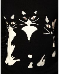ASOS Collection - Black Asos Dolly Cat Jumper - Lyst