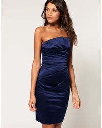 ASOS Collection | Blue Asos Bandeau Dress with Ruched Front | Lyst