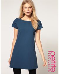 ASOS Collection - Blue Asos Petite Exclusive Shift Dress with Exposed Zip - Lyst