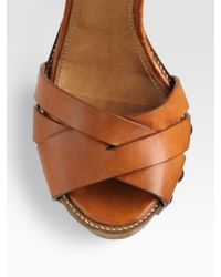 Chloé - Brown Leather Wooden-sole Platform Sandals - Lyst