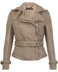 Muubaa | Gray Stone Yarrow Short Mac Leather Jacket | Lyst