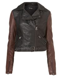 TOPSHOP | Black Maggie Hooded Faux Leather Biker Jacket | Lyst
