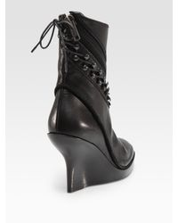Haider Ackermann | Black Leather Hook-and-lace Wedge Ankle Boots | Lyst