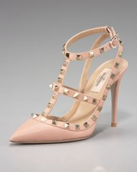 Valentino | Pink Rockstud Leather Runway Pump | Lyst