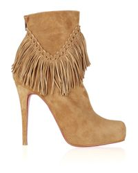 Christian Louboutin | Natural Rom 120 Fringed Suede Ankle Boots | Lyst