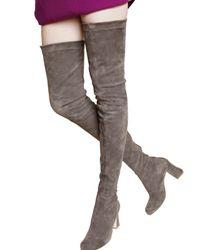 Alberta Ferretti - Gray 75mm Stretch Suede Cuissard Boots - Lyst