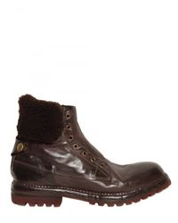Alberto Fasciani | Brown Sheep Fur Horsehide Laceless Boots for Men | Lyst