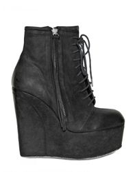 BB Bruno Bordese - Black 130mm Matte Calf Lace Up Wedges - Lyst